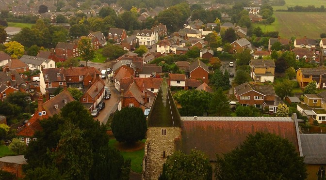 St Mary's and Hadlow looking from the top of Hadlow Tower,